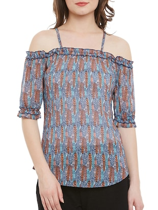 multi printed georgette regular top