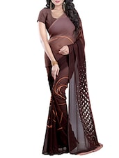 brown georgette printed saree -  online shopping for Sarees