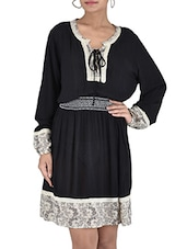 Black Printed Full-sleeved Georgette Dress - By