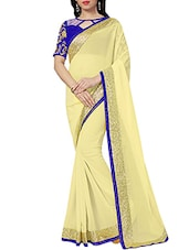 cream georgette bollywood saree -  online shopping for Sarees