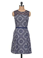 Navy Blue Printed Sleeveless Georgette Dress - By