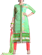Light Green Embroidered Chanderi Cotton Suit Set - By