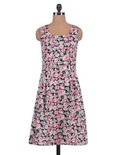 Multicolored Crepe Floral Print Dress - By