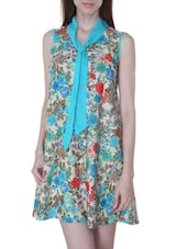 Multicolored Malai Crepe Georgette Floral Print Dress - By