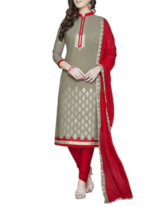 grey cotton churidaar suits unstitched suit