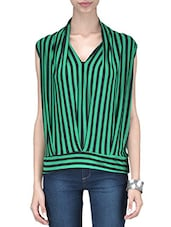 Green And Black Polyspandex Striped Top - By