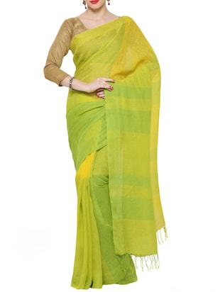 green & yellow linen woven saree