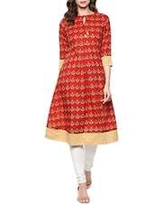 maroon cotton block printed a-line kurta -  online shopping for kurtas