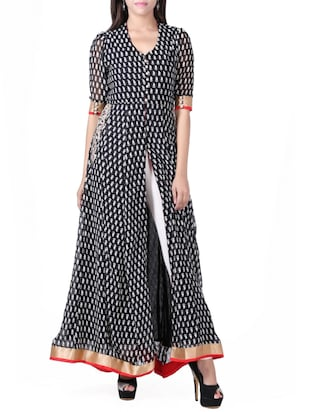 black georgette high slit kurta