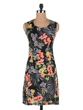 Multicolored Poly Georgette Floral Print Dress - By