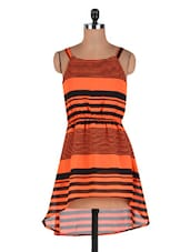 Orange And Black Poly Georgette Printed A-symmetric Dress - By