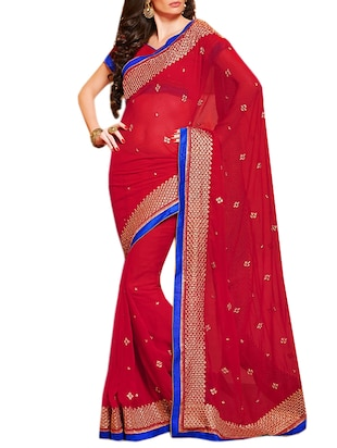 red chiffon embroidered saree
