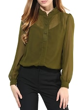 Green Poly Georgette Pleated Top - By