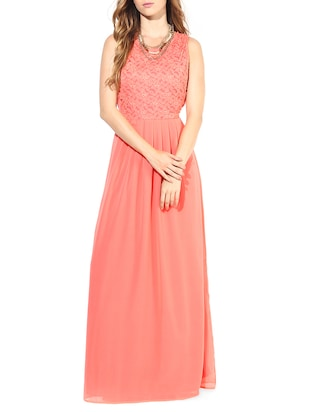 Pink Poly Georgette Pleated Maxi