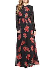 Black Poly Georgette Floral Printed  Full Sleeve Maxi - By