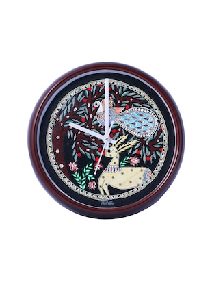 iMithila Designer Handpainted Decorative Black Analog Wall Clock -  online shopping for Wall Clocks