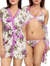 purple floral printed satin robe with bra and panty set -  online shopping for Sleepshirts & Nighties