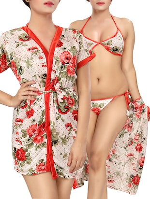 red floral printed satin robe with bra and panty set -  online shopping for Sleepshirts & Nighties