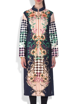 Multicolored  Digital Printed Long Sleeves woolen kurta
