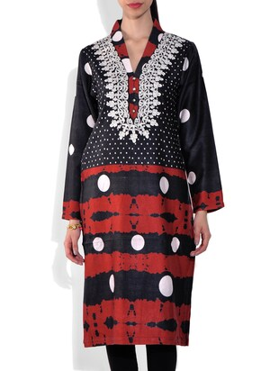 Black and Maroon Printed Long Sleeves woolen kurta