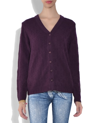 Purple Acrylic Wool  Long Sleeves Self Knit Cardigan