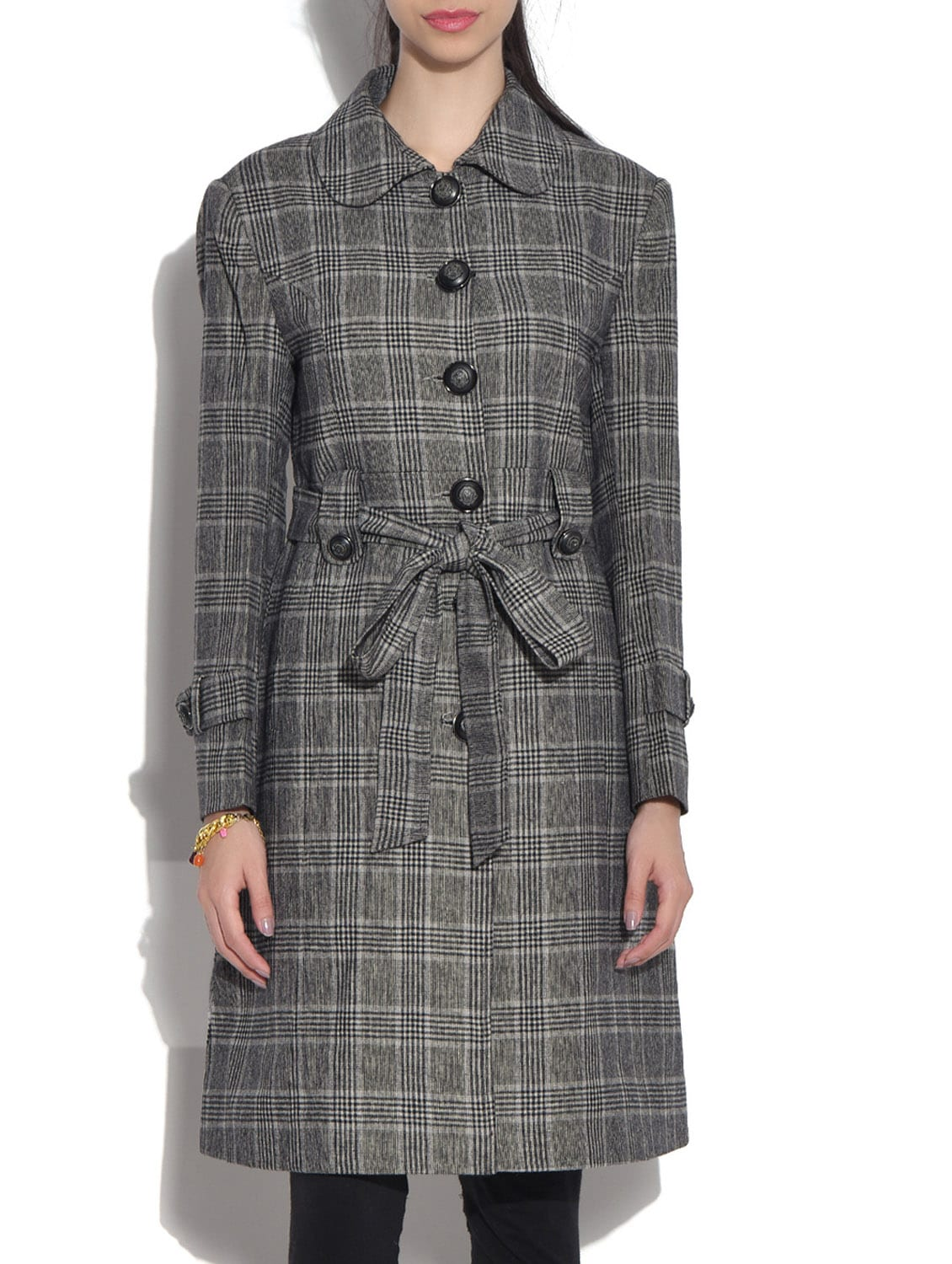 Grey Wool Blend  Checkered Long Sleeves Long Coat - By