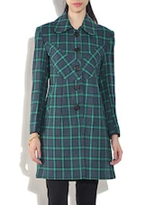 Green Wool Blend  Checkered Long Sleeves Coat - By