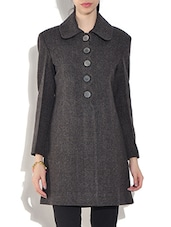 Grey Wool Blend  Checkered Long Sleeves Coat - By
