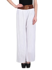 White Georgette Palazzos With Brown Waistband - By