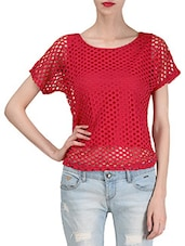 Solid Red Polyester Net Top - By