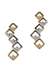 Gold And Silver Crystal Embellished Drop Earrings - By