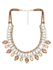 Silver Beaded Metallic Necklace With Stone Embellishment - By