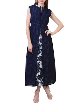 navy blue floral poly georgette maxi dress