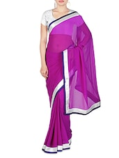 Purple Faux Georgette Plain Bordered Saree - By