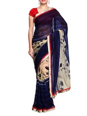 Blue Chiffon  Ombre Gota Patti Bordered Saree - By