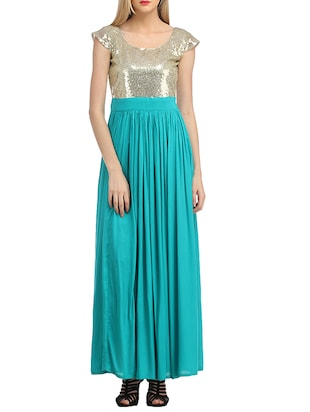 Turquoise and gold maxi dress