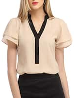 Beige v-neck georgette top -  online shopping for Tops
