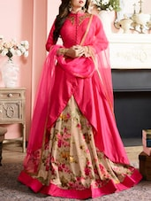 pink silk embroidered anarkali semi-stitched suit -  online shopping for Semi-Stitched Suits