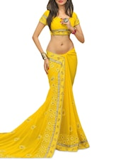 Yellow Poly Georgette With Pallu Jari   Embroidered Saree - By