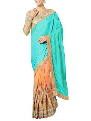 sky blue silk half and saree