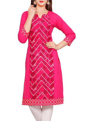 pink none straight kurta