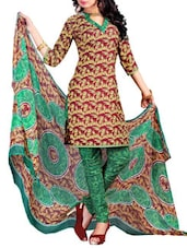 Brown And Green Coloured Printed Suit Set - By
