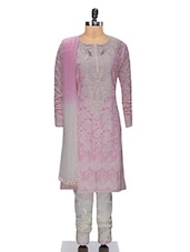 Pink And Off-White Cotton Chikankari Stitched Suit Set - By