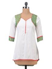 White Cotton Blend Paisley Printed Short Kurta - By