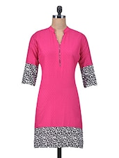 Pink Cotton Jacquard Kurti With Non-functional Buttons - By