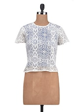 White Cotton Lace Solid Top - By