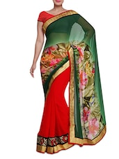 Green And Red Floral Printed Saree - By