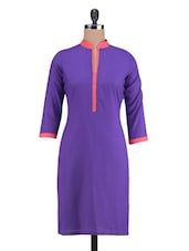 Purple Rayon Plain Kurti - By
