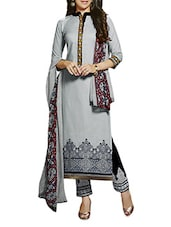 Grey Embroidered Cotton Suit Set - By