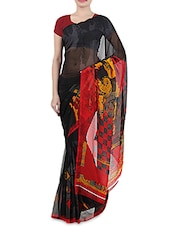 Red And Black Faux Georgette Printed Sari - By
